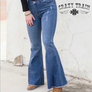 Crazy Train Bell Bottom Flare Jeans